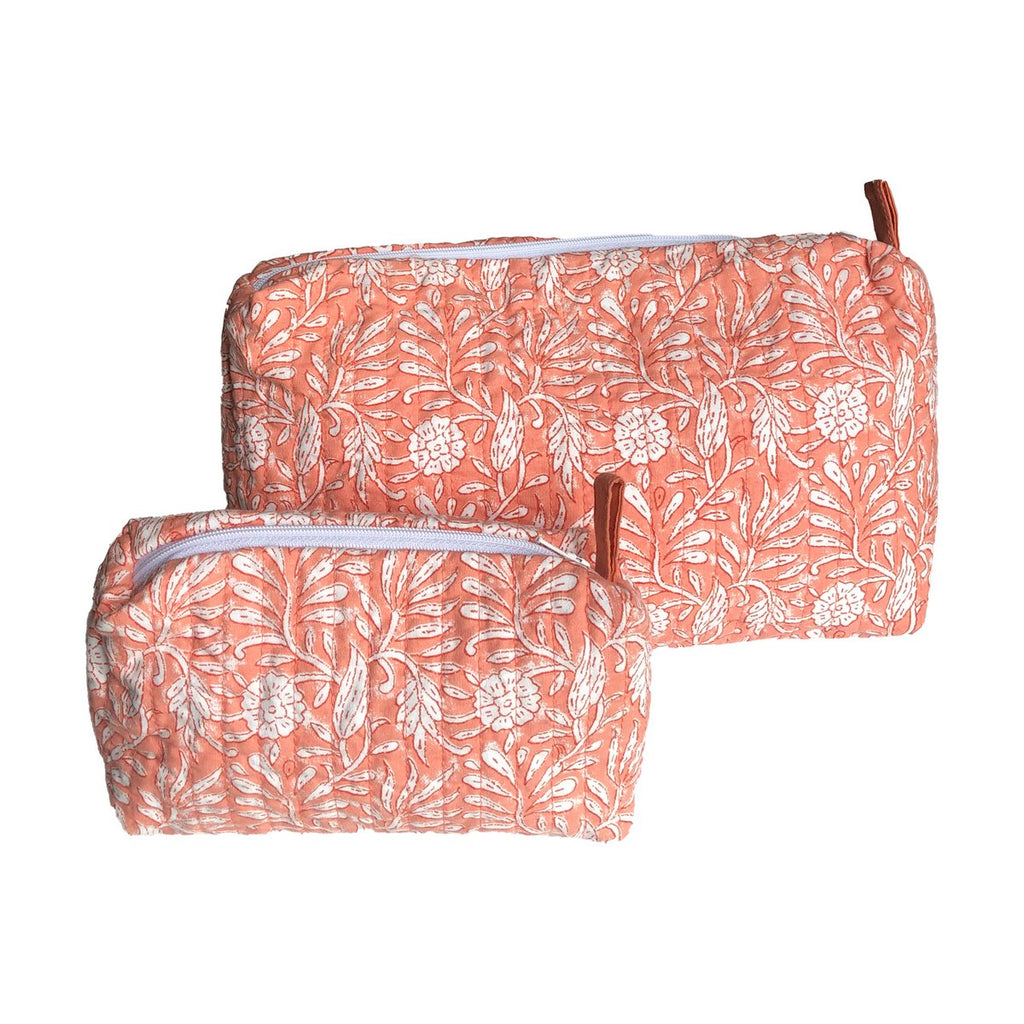 Jasmine Zipper Pouch, Coral, Large