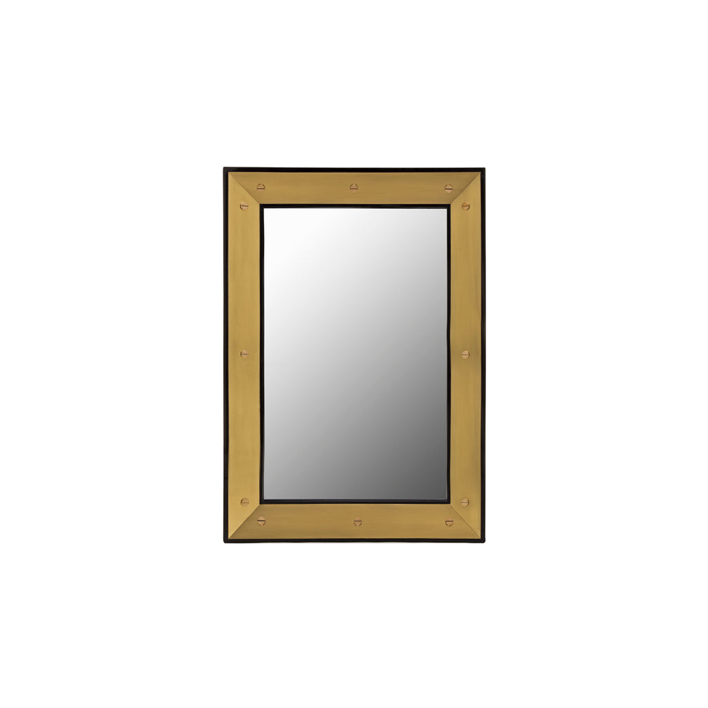Brass and Black Lacquer Mirror, by The Lacquer Company
