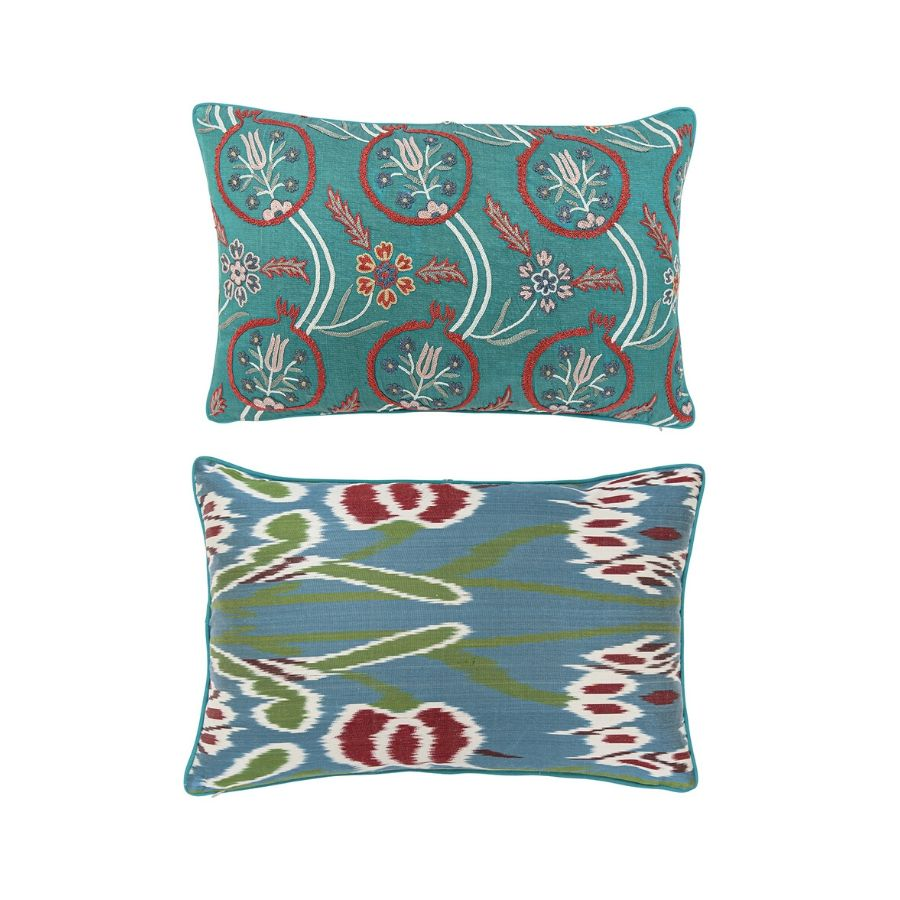 Embroidered Green and Blue Ikat Lumbar Pillow