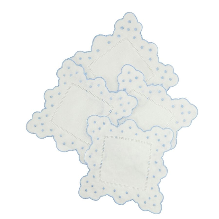 Embroidered Scallop & Dots Cocktail Napkins, Light Blue