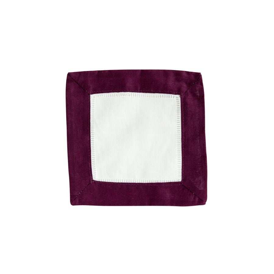 Hemstitch Cocktail Napkin, Burgundy