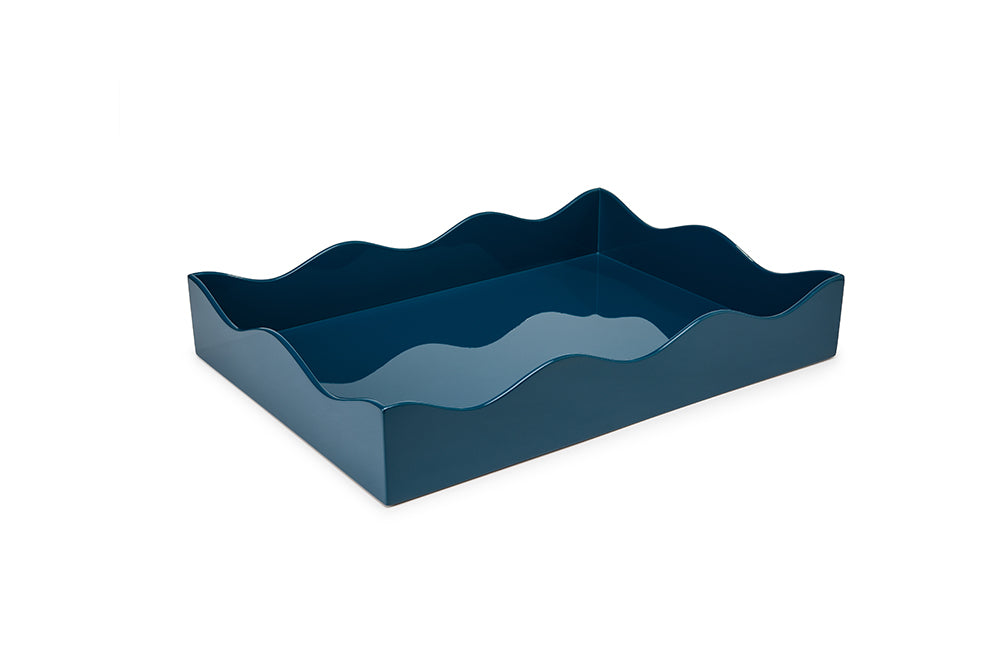 Medium Lacquer Tray, Marine Blue