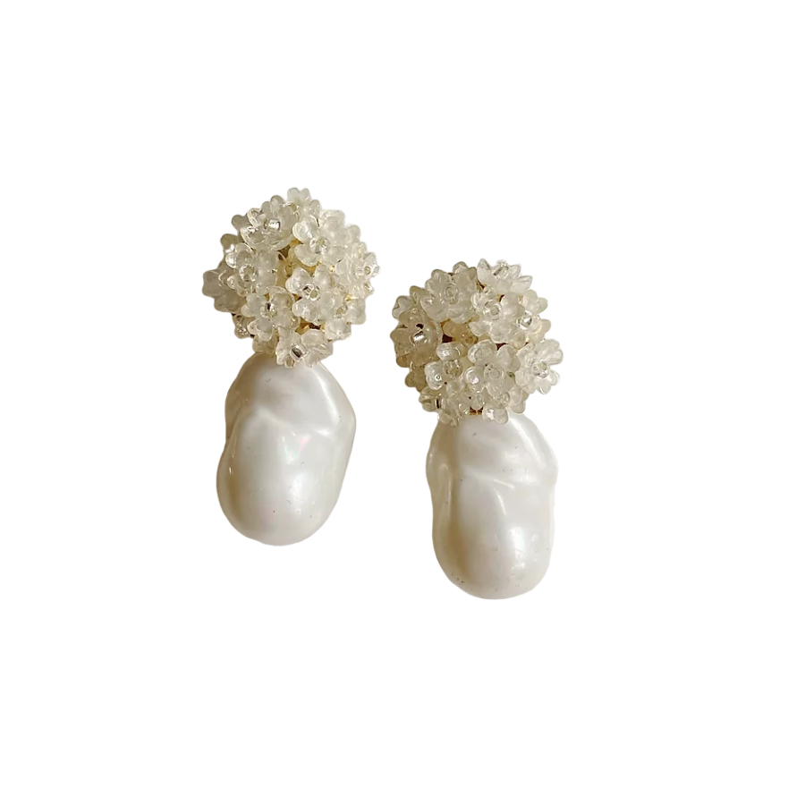 Ivory Flowers + Pearly Drop