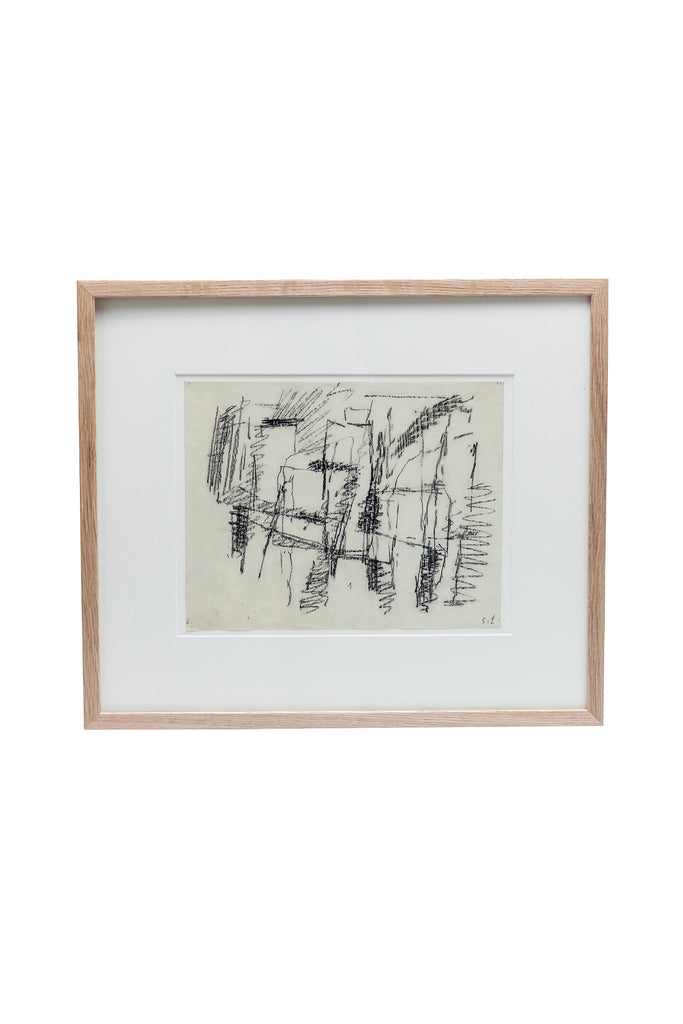 Mid-Century Abstract Charcoal Art by Jacques Germain