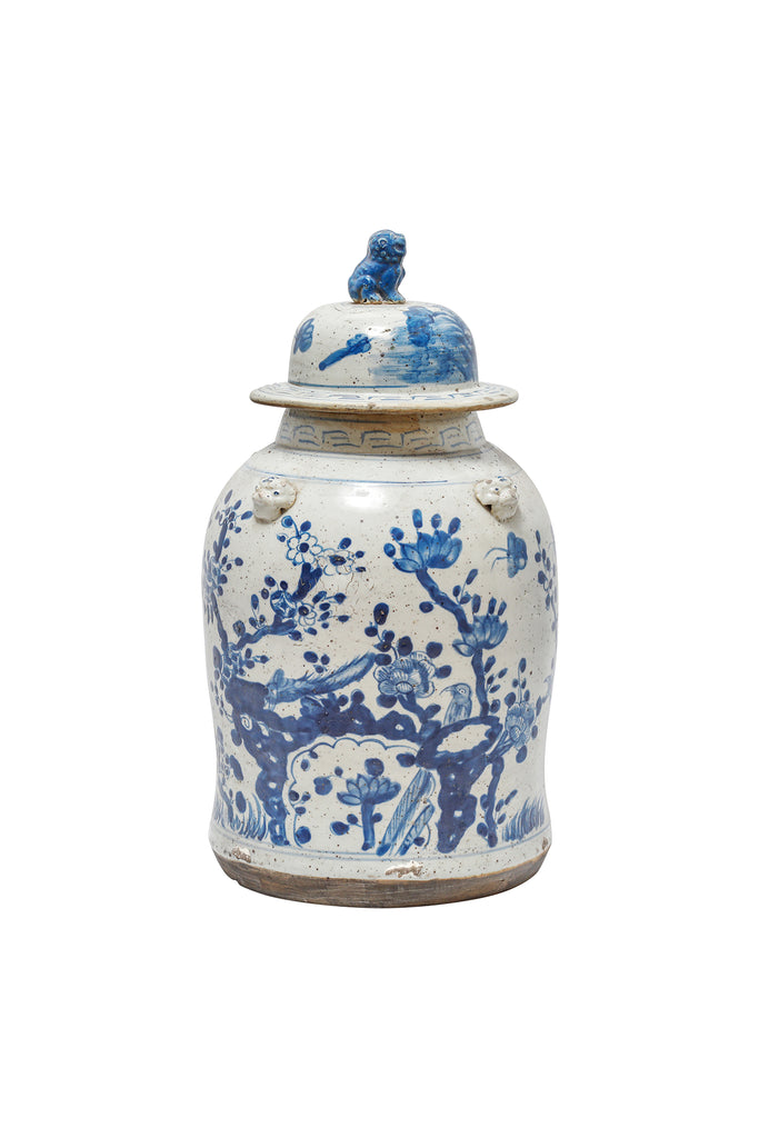 Blue and white vintage temple jar