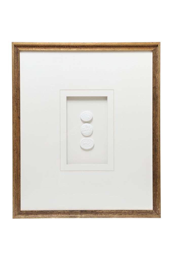Triple Framed Intaglio with Gold Frame