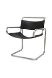 Ralph Rye for Dunbar Leather and Chrome Tubular Chairs, Pair