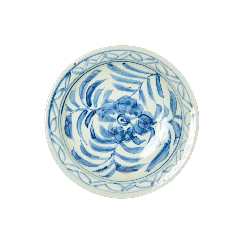 Blue and White Plate, Peony Print