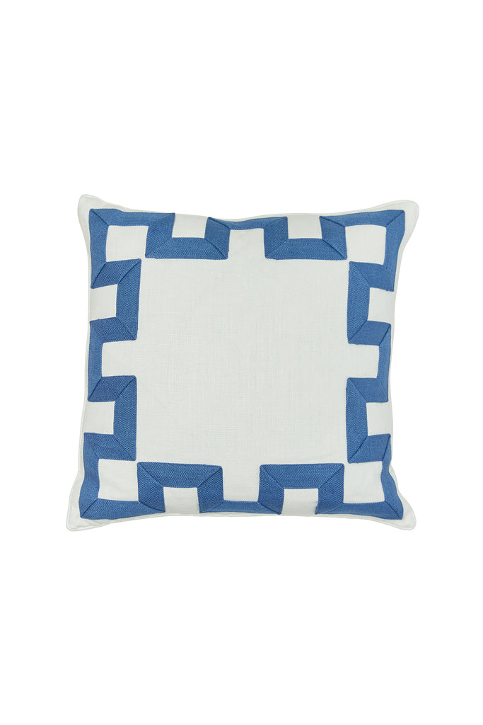Fretwork Ivory Linen Pillow with Denim Linen Applique