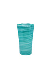 Tall Octagonal Handblown Glass in Turquoise