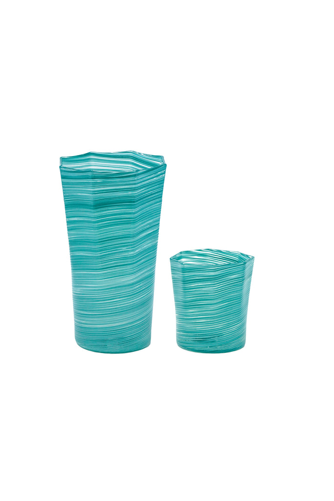 Tall Octagonal Glass, Turquoise