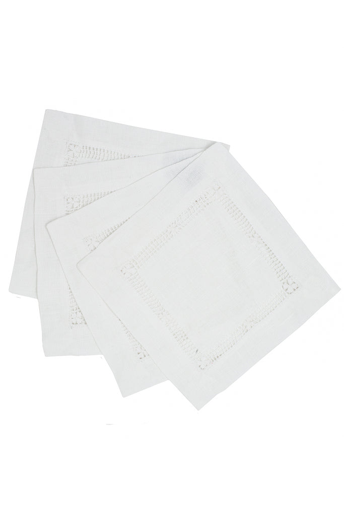 Flower Hemstitch Cocktail Napkin, White, S/4