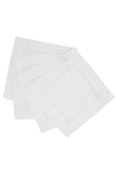 Flower Hemstitch Cocktail Napkin, White