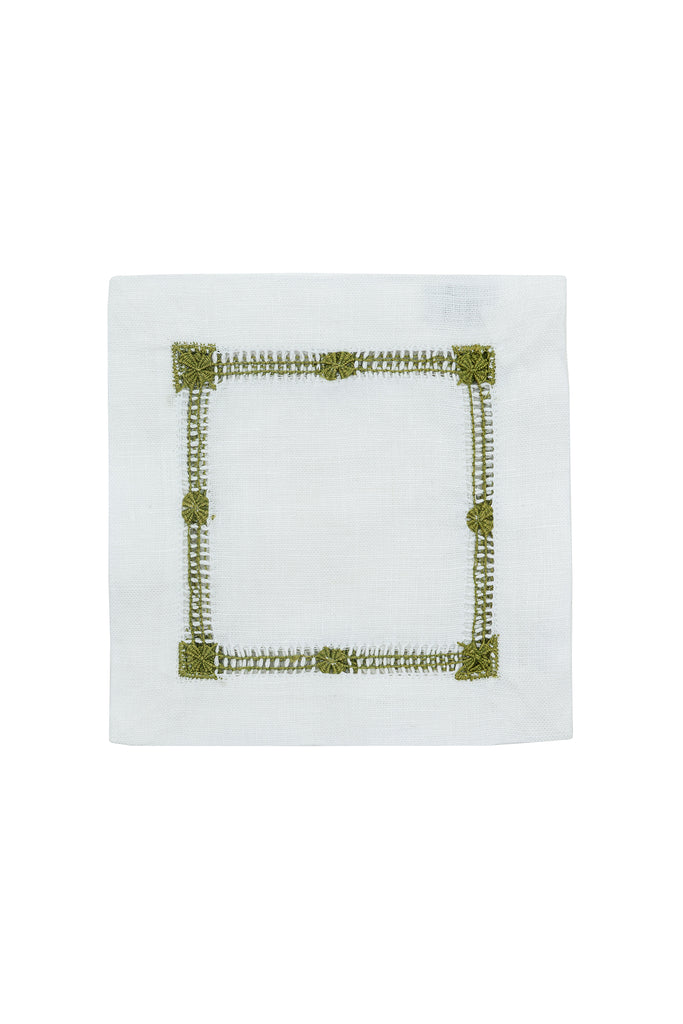 Olive Colored flower hemstitch cocktail napkin