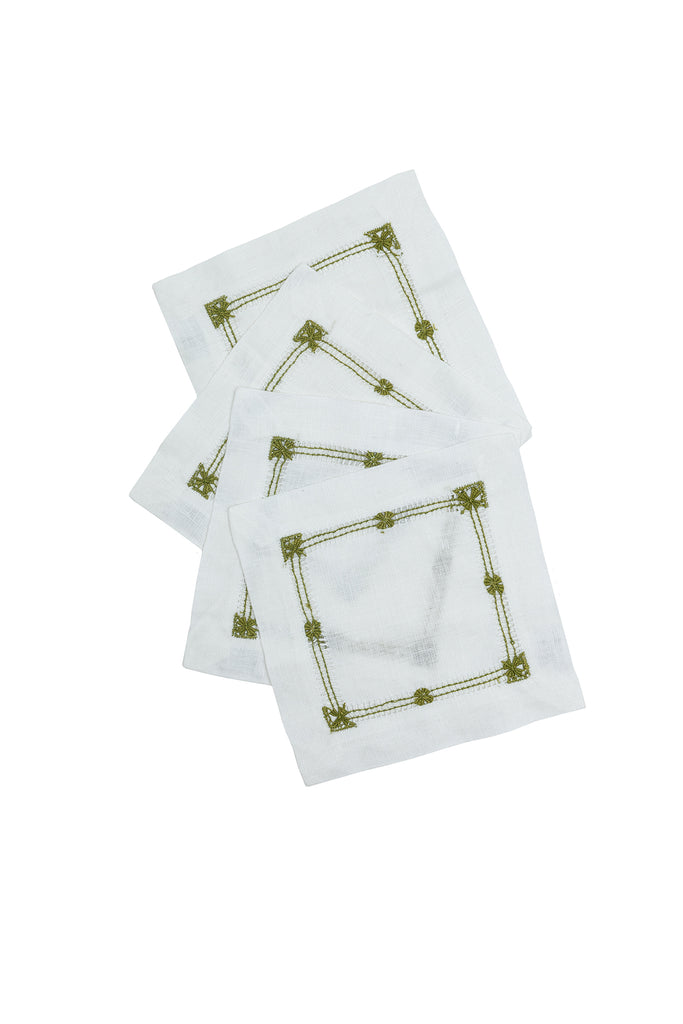 Flower Hemstitch Cocktail Napkin, Olive