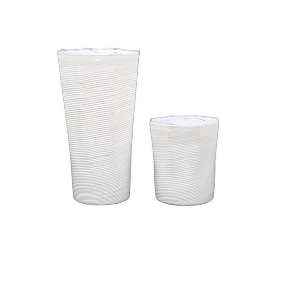 Short Octagonal Glass, White