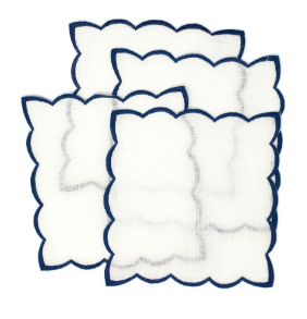 Navy cocktail napkins with color trim set