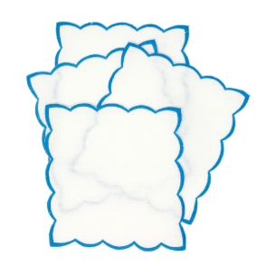 Light Blue cocktail napkins with color trim set