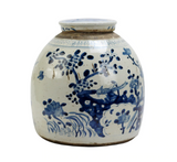 Blue and White Vintage Jar w/ Lily Pad Motif, Small
