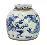 Blue and White Vintage Ming Jar w/ Dragon Motif, Small