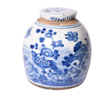 Blue and White Vintage Ming Jar w/ Flower Bird Motif, Small