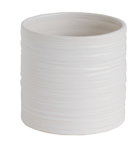 White Cylinder Pot, Medium