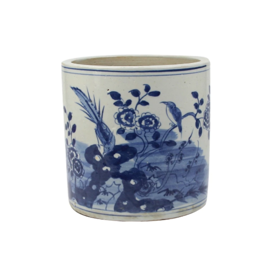 Blue and White Orchid Pot Bird Floral Motif