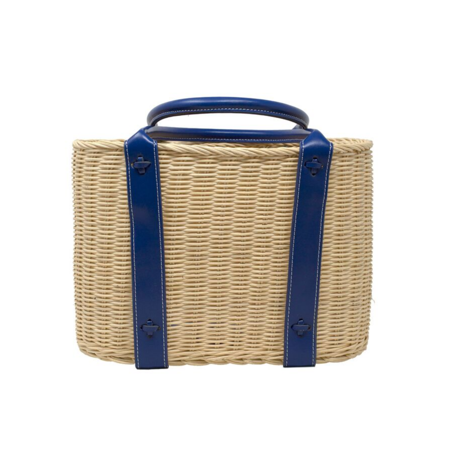 Wicker Tote with Navy Leather Tote