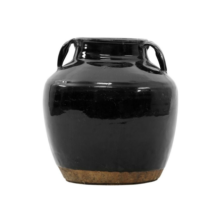 Black Vintage Jar with Handles