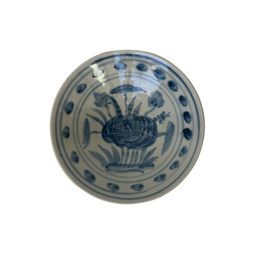 Blue and White Bowl, Lotus Print