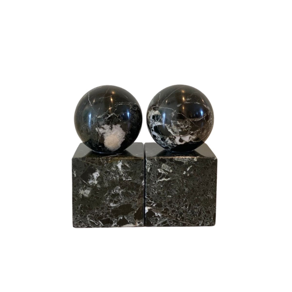 Black Polished Marble Bookends