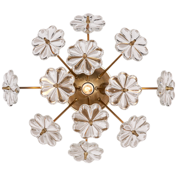 Clear Glass Floral Accent in a Hand-Rubbed Anitque Brass Sconce