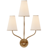 Gold Stem Sconce with Linen Lamp Shade