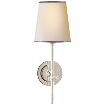 Polished Nickel Long Stem Sconce with Natural paper shade