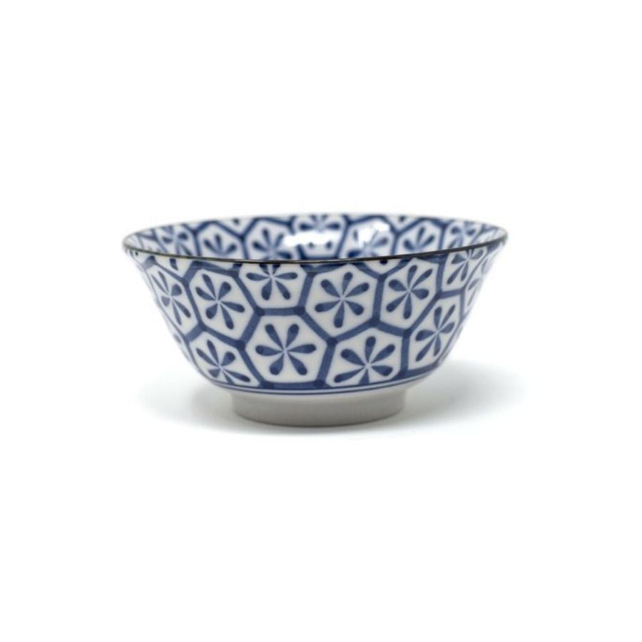 Blue and white geo print bowl