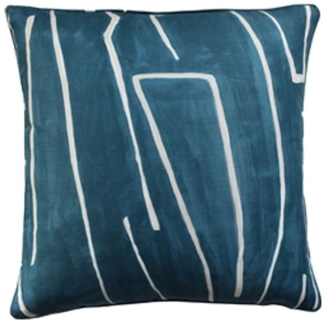 Graffito Pillow, Teal, Pair