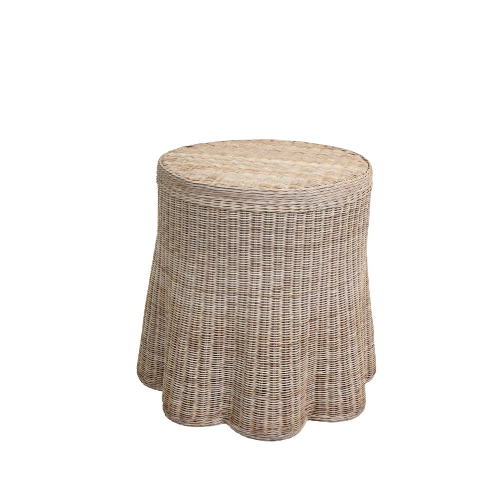 Wicker Scallop Round Side Table