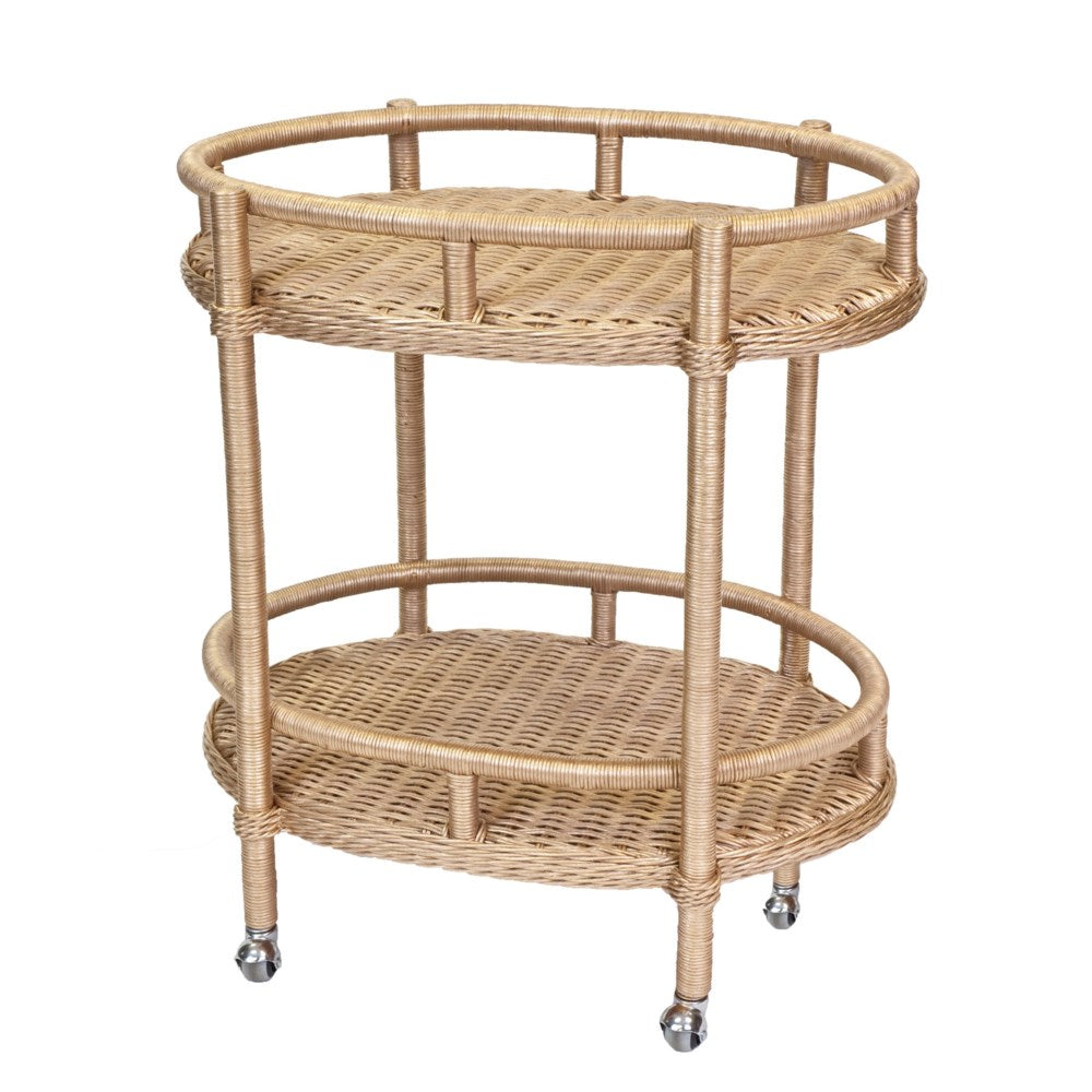 Woven Oval Bar Cart