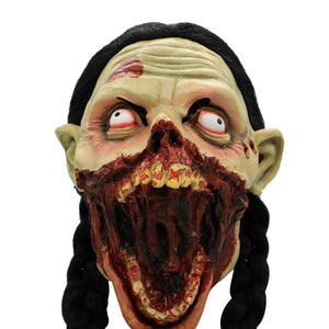 hiinst 2018 new year festival cosplay scary zombie latex mask with hair cosplay helmet halloween costume