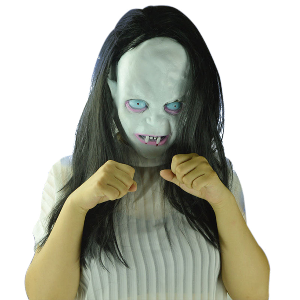 tricky scary long hair halloween masks ghost full face mask for