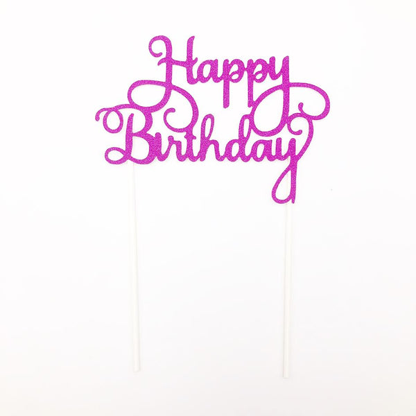Happy Birthday Cake Topper in Glittered Fuchsia
