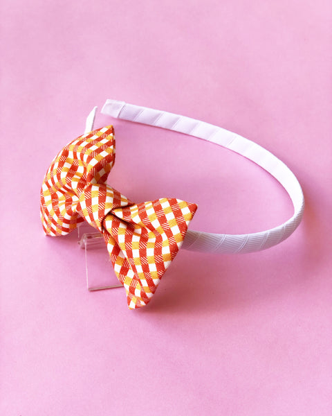 Orange and White Gingham Headband