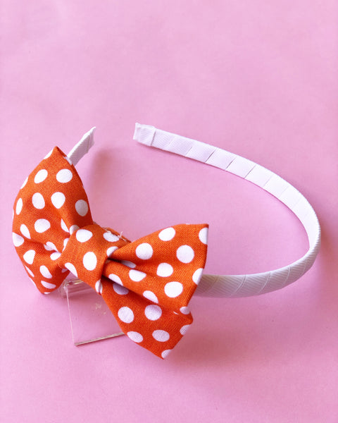 Orange and White Dot Headband
