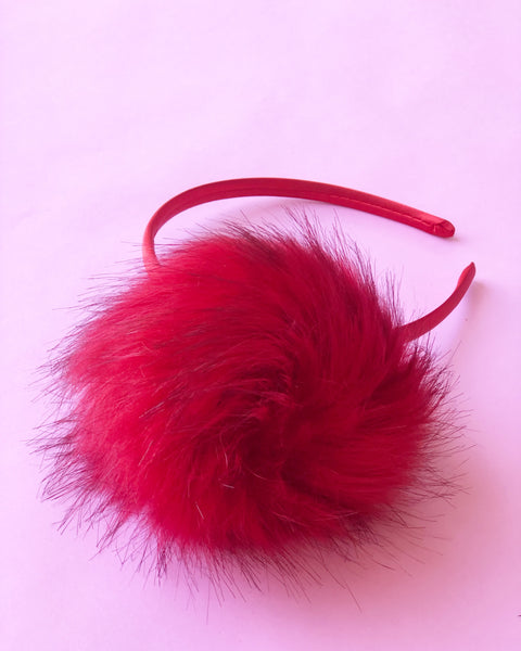 Red Faux Fur Pom Pom on Red Headband