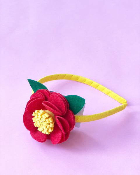 Red and Yellow Flower Headband