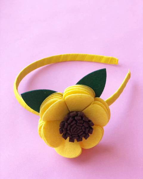 Yellow and Brown Flower Headband
