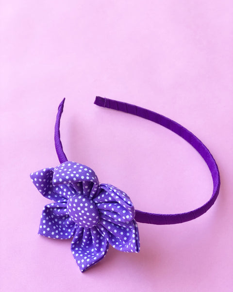Purple Dot Flower Headband