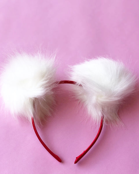 White Faux Fur Pom Pom Headband - Bear Ears