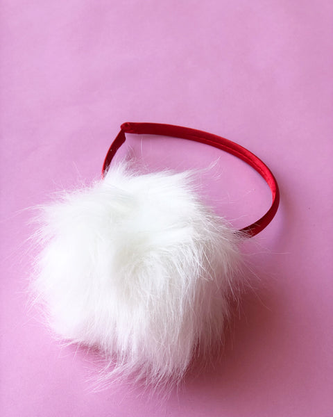White Faux Fur Pom Pom on Red Headband