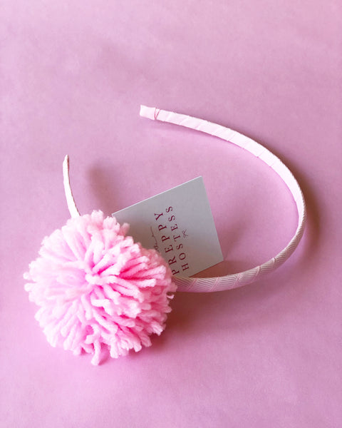 Light Pink Pom Pom Headband